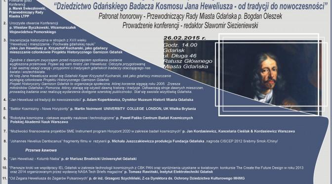 """Konferencja Klastra LTPP """"Dziedzictwo Gdańskiego Badacza Kosmosu Jana Heweliusza – od tradycji do nowoczesności""""."""